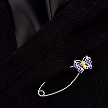 Серебряная булавка Милая бабочка с фиолетовой эмалью