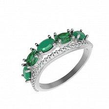 Серебряное кольцо Таиса с зеленым агатом, зеленым кварцем и фианитами