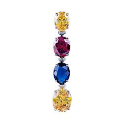 Серебряный кулон Краски востока с желтыми фианитами, красным корундом и синей шпинелью