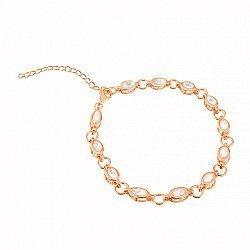 Серебряный браслет в позолоте с прозрачным цирконием 000025869