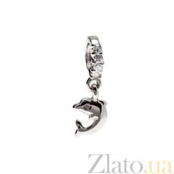 """Серебряная бусина с подвеской """"Дельфин"""" AQA-234510008/5"""