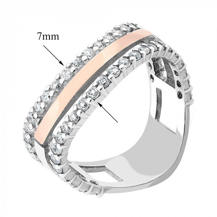 Серебряное кольцо с золотой накладкой, фианитами и родированием 000066758 000066758