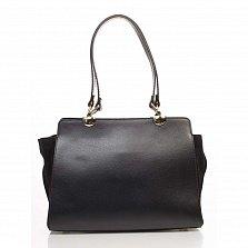Деловая сумка из кожи и замши Genuine Leather 8939 черного цвета на молнии, с нашивным карманом