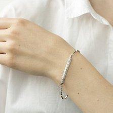 Серебряный браслет Болонья с литым центральным звеном в усыпке фианитов