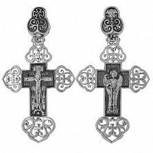 Крест Ангел Хранитель в белом золоте