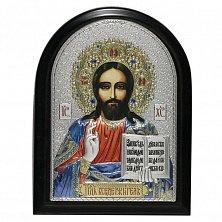 Икона на деревянной основе Спаситель мира с позолотой и цветной эмалью, 15х21