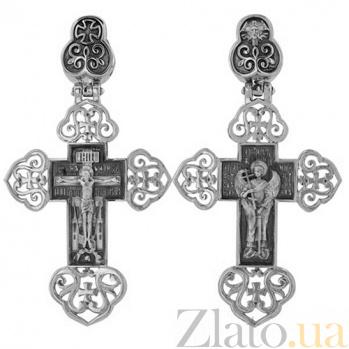 Крест Ангел Хранитель в белом золоте VLT--КС1-3054-0-3