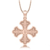Крестик из розового золота с бриллиантом Тайна: Верность