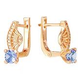 Золотые серьги Эврика с голубым топазом и фианитами