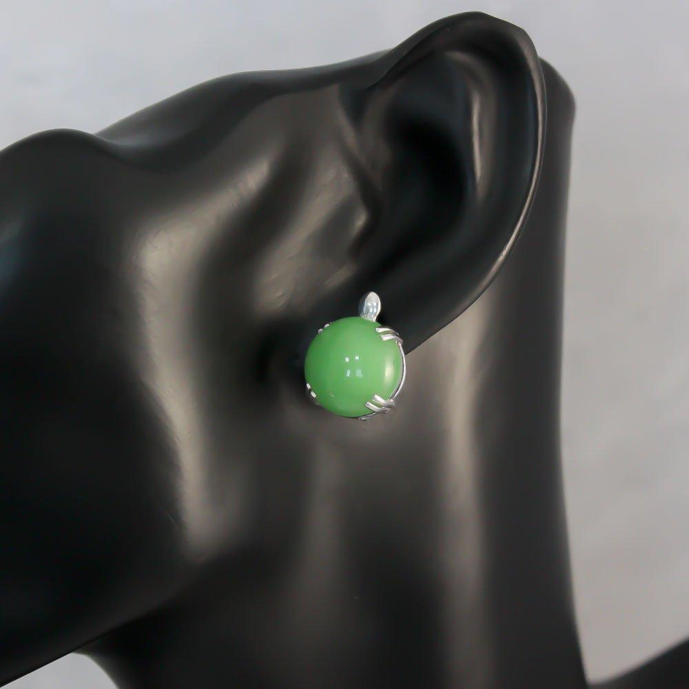Серебряные серьги Зеленый фонарь с хризопразом