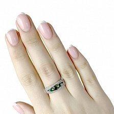Серебряное кольцо Эленна с синтезированными изумрудами и дорожками фианитов