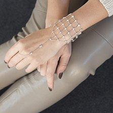 Серебряный браслет-слейв Сеточка с фианитами