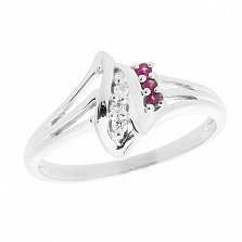 Серебряное кольцо с бриллиантами и рубинами Илона