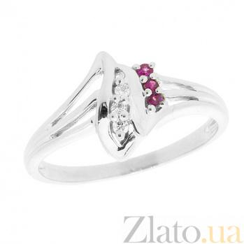 Серебряное кольцо с бриллиантами и рубинами Илона ZMX--RDR-1006-Ag_K