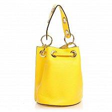 Кожаный клатч 1660 желтого цвета с декоративной перфорацией, ремнем на плечо и кулиской
