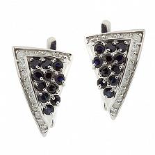 Серебряные серьги с бриллиантами и сапфирами Косынка