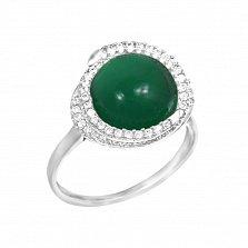 Серебряное кольцо Бернадет с халцедоном и фианитами