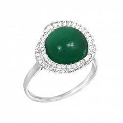 Серебряное кольцо с халцедоном и фианитами 000093661
