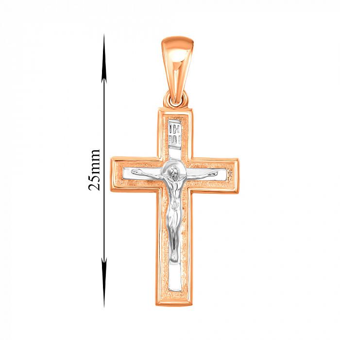 Золотой крестик в комбинированном цвете 000138597 000138597