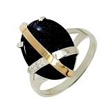 Серебряное кольцо с золотой вставкой и авантюрином Сенсация