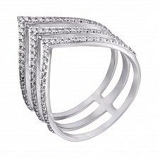 Серебряное кольцо Триада с треугольной шинкой и дорожками белых фианитов