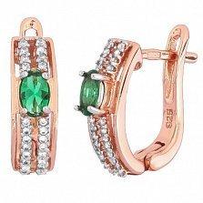 Позолоченные серебряные серьги с зелеными фианитами Шеннон