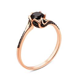 Золотое кольцо Черная роза в красном цвете с фианитами