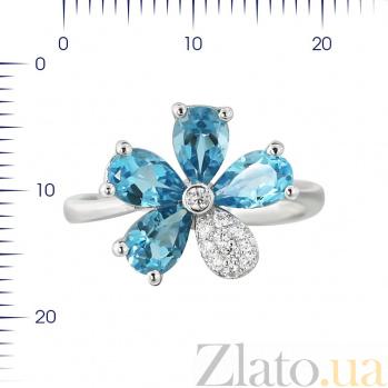 Серебряное кольцо Незабудка с топазами и фианитами 000081636