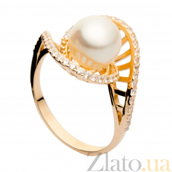 Золотое кольцо с жемчугом Амариллис 000029900