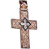 Золотой крест Мозаика с эмалью и фианитами