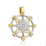 Золотой подвес Путеводная звезда в желто-белом цвете с фианитами
