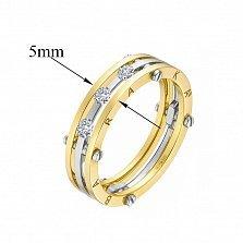 Золотое обручальное кольцо Счастливый союз с камнями Swarovski в стиле Барака