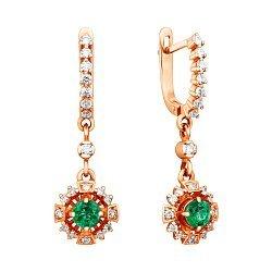 Серьги-подвески из красного золота с изумрудами и бриллиантами 000137169