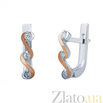 Серебряные серьги с золотой вставкой и фианитами Волна AQA--333Сл
