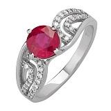 Серебряное кольцо с рубином Ягода