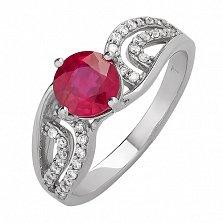 Серебряное кольцо Ягода с рубином и фианитами