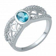 Серебряное кольцо Янина с лондон топазом и фианитами