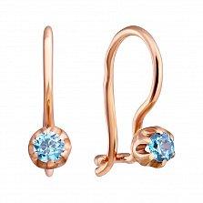 Золотые сережки Мила с голубым цирконием