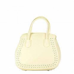 Кожаная деловая сумка Genuine Leather 8629 желтого цвета с тремя отделениями на молнии