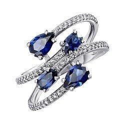 Серебряное кольцо с гидротермальными сапфирами и фианитами 000063065