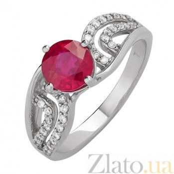 Серебряное кольцо Ягода с рубином и фианитами 000015341