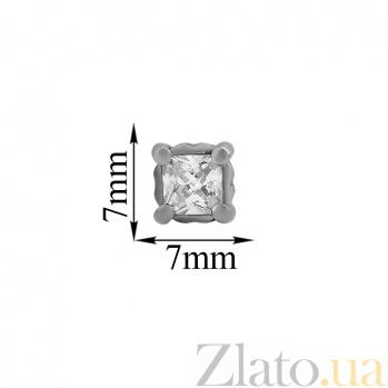 Серебряные серьги-пуссеты с цирконием Princess Princess/с
