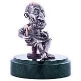 Серебряная авторская статуэтка Сапожник на мраморной подставке