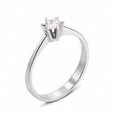 Кольцо из белого золота с бриллиантом 000131173