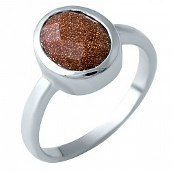 Серебряное кольцо Наоми с коньячным авантюрином
