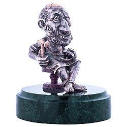 Серебряная авторская статуэтка Сапожник на мраморной подставке 000053215