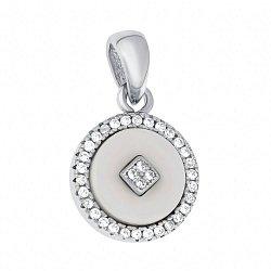 Серебряная подвеска Оригон с белой керамикой и фианитами 000096527
