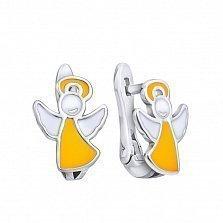 Серебряные серьги-пуссеты Парящий ангел с белой и желтой эмалью