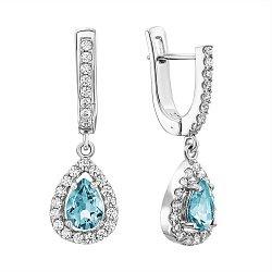 Серебряные серьги-подвески с голубым топазом и фианитами 000117846