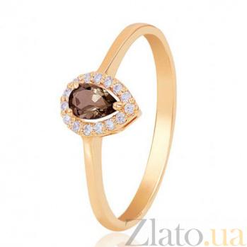 Золотое кольцо Капля росы с раухтопазом и фианитами EDM--КД4031РАУХТОПАЗ